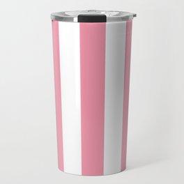 Flower girl pink - solid color - white vertical lines pattern Travel Mug