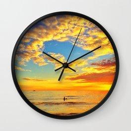 Lone Surfer, Sunset Wall Clock