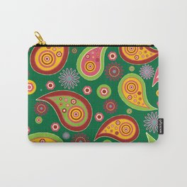 Oriental Persian Paisley - Green Yellow Red Carry-All Pouch