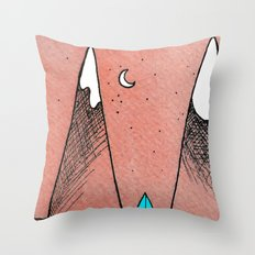 Mountain Camping Under a Red Sky Throw Pillow