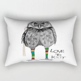 loves to knit Rectangular Pillow