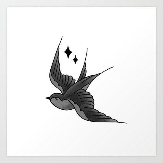 Swallow Flash - mono Art Print