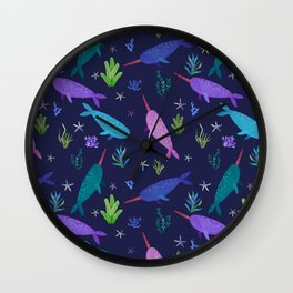 Watercolor Narwhals Purple Rose Gold Sea Pattern Wall Clock