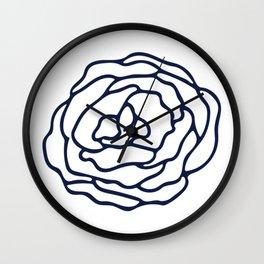 Rose Nautical Navy on White Wall Clock