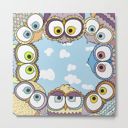 Cute Owls Metal Print