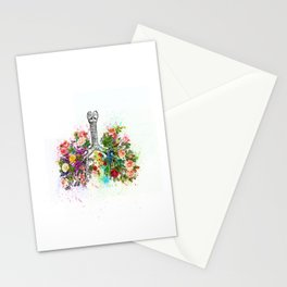 Flowers Lungs Skeleton Watercolor Stationery Cards