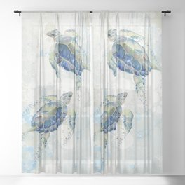 Swimming Together 2 - Sea Turtle  Sheer Curtain