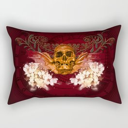Amazing skull with flowers Rectangular Pillow