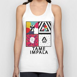 """Tame Impala Silhouette Faces """"Feels Like We Only Go Backwards"""" Unisex Tank Top"""