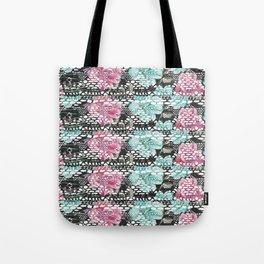 Vintage black pink teal watercolor floral lace Tote Bag