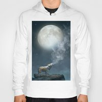 dreams Hoodies featuring The Light of Starry Dreams (Wolf Moon) by soaring anchor designs