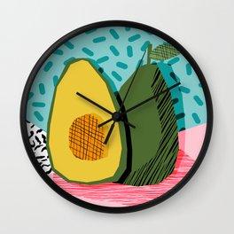 Choice - wacka memphis throwback retro neon fruit avocado vegetable vegan vegetarian art decor Wall Clock