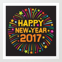 Happy new year 2017 firework Art Print