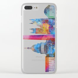 Washington DC landmarks watercolor poster Clear iPhone Case