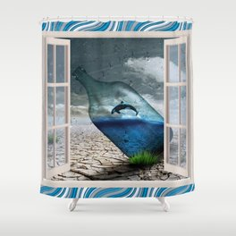 Whale in a Bottle in th Desert Shower Curtain