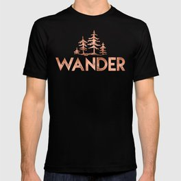 WANDER Rose Gold Trees on Black T-shirt