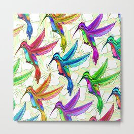 Hummingbirds Multicolors Pattern Metal Print