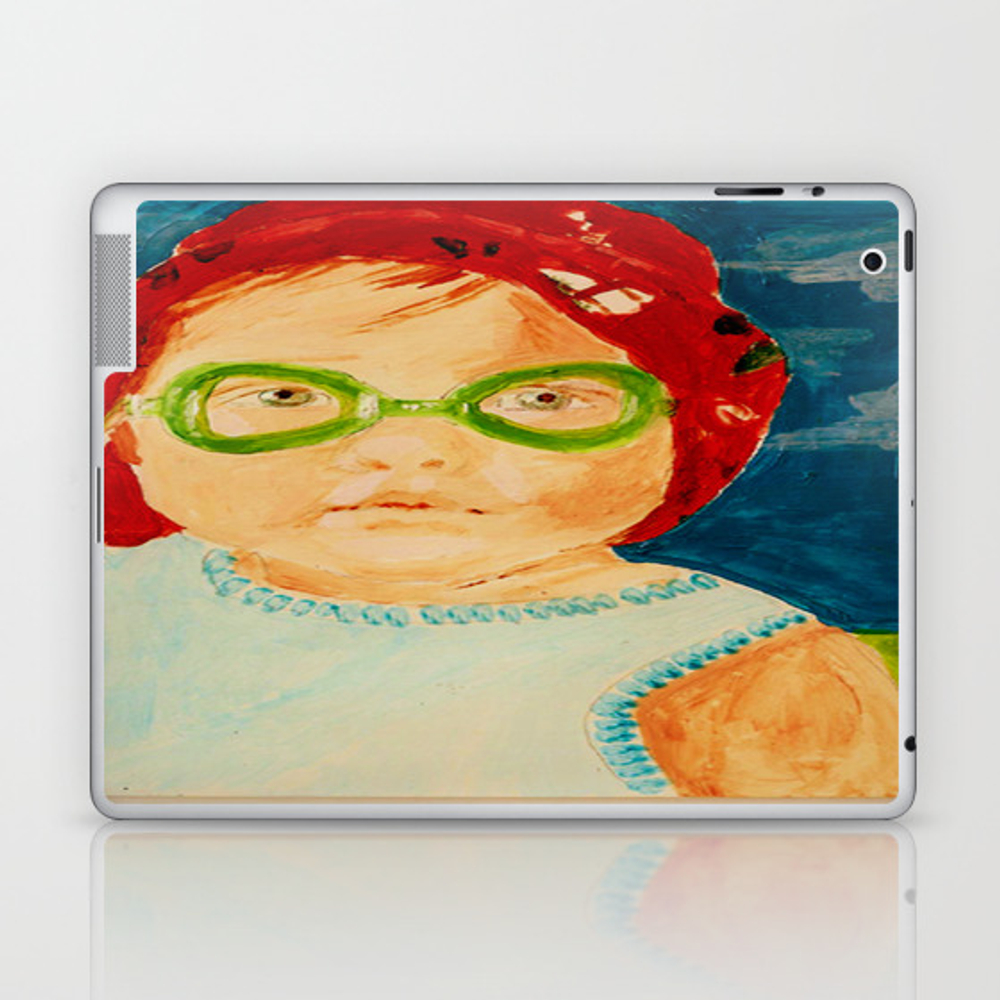 Maddie With Goggles, A Painting By Karen Chapman Laptop & Ipad Skin by Jerrychapman LSK8104494