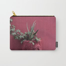 Pink and plant Carry-All Pouch