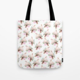 Hand painted modern pink brown watercolor peonies dove pattern Tote Bag