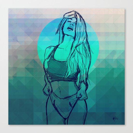 Geometric Sexy Girl Sketch V2 Canvas Print