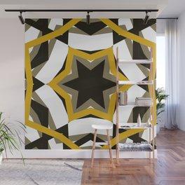 Black, Gray, White, Gold Star Wall Mural