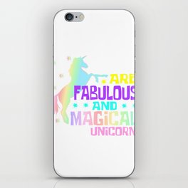 Unicorn T-Shirt Typography With Unicorn Saying Language Arts Teacher Are Fabulous And Magical Magic iPhone Skin