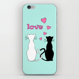 Couple cats with love iPhone Skin