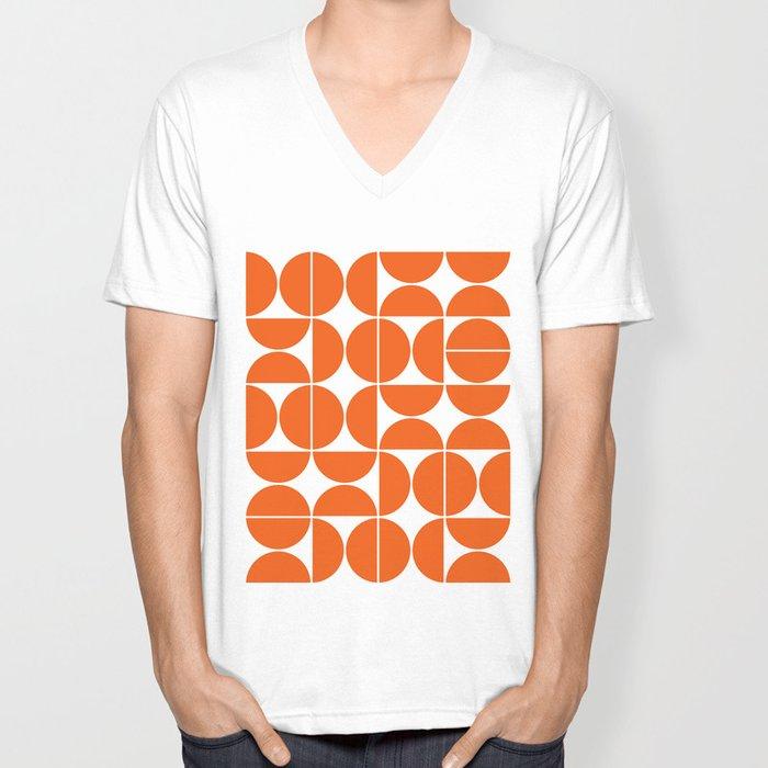 Mid Century Modern Geometric 04 Orange Unisex V-Neck