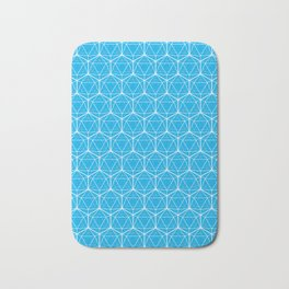 Icosahedron Pattern Bright Blue Bath Mat