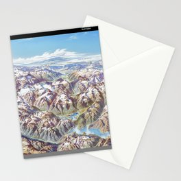 Heinrich Berann - Panoramic Painting of the North Cascades with labels (1987) Stationery Cards