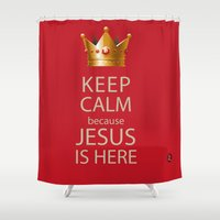 keep calm Shower Curtains featuring Keep Calm by Evelyn Zoe