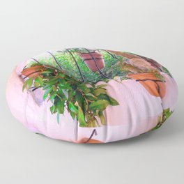 Potted Plants Behind Bars on Porch Floor Pillow