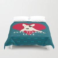 bull terrier Duvet Covers featuring Bull Terrier Love by ShaMiLa