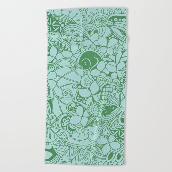 Blue square, green floral doodle, zentangle inspired art pattern Beach Towel