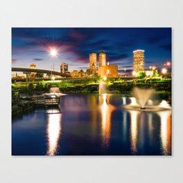 Tulsa Skyline Over Centennial Park Lake At Twilight Canvas Print