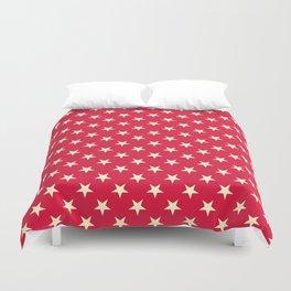 Cream Yellow on Crimson Red Stars Duvet Cover