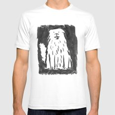 fluffy dog White Mens Fitted Tee MEDIUM