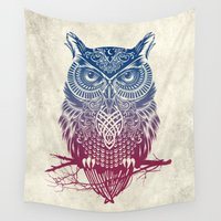 warrior Wall Tapestries featuring Evening Warrior Owl by Rachel Caldwell