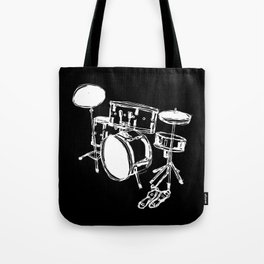 Drum Kit Rock Black White Tote Bag