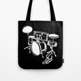 Drum Kit Rock Black White Tote Bag