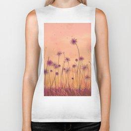 Dreamy Violet Dandelion Flower Garden Biker Tank