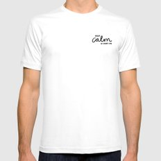 Keep Calm & Carry On Mens Fitted Tee White MEDIUM