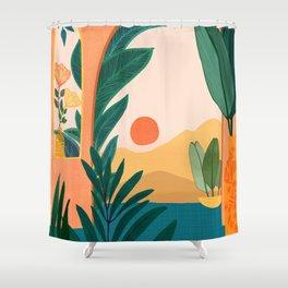 Santa Fe Oasis / Desert Landscape with Plants Shower Curtain