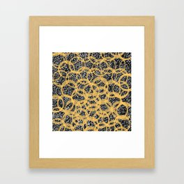 Abstract Beehive Yellow & Black Pattern Framed Art Print