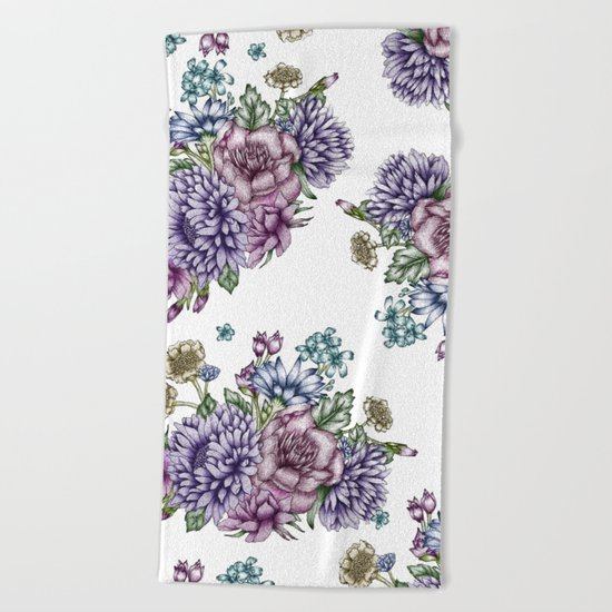 Vintage Flowers Beach Towel