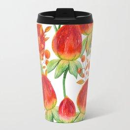 Watercolor hand painted red orange yellow tulip flowers Travel Mug