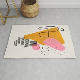 Mid Century Art by Enshape Ejaaz Haniff 'Party Champagne' Fun Colorful Yellow Pink Abstract Minimal Shape Line Patterns Rug