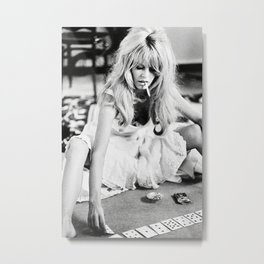 Brigitte Playing Cards , vintage style , gift , fashion, wall art, classic photography, Metal Print