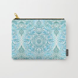 Turquoise Blue, Teal & White Protea Doodle Pattern Carry-All Pouch